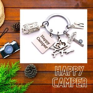 🏕 NWT Happy Camper Keychain with Charms Initial M